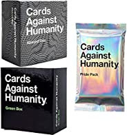 Cards Game Against Humanity Expansion Packs Bundle Set Green Box Absurd Box and Pride Pack