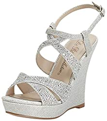 High Heel Wedge Sandal with Crystal Embellishment