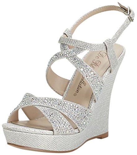 David's Bridal High Heel Wedge Sandal with Crystal Embellishment Style BALLE8, Silver Metallic, 7