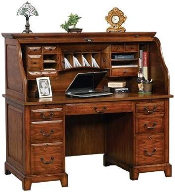 Amazon Com 57 Roll Top Desk By Winners Only Medium Oak Gz257r Furniture Decor