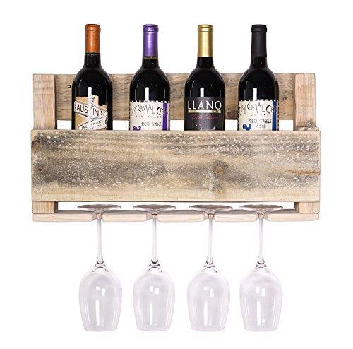 del Hutson Designs - The Little Elm Wine Rack, USA Handmade Reclaimed Wood, Wall Mounted, 4 Bottle 4 Long Stem Glass Holder (Natural) (Wood Natural Wall Rack)