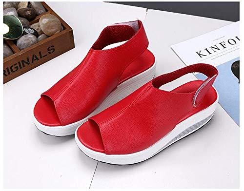 717641c3389404 Rouge 2019 Vintage Toe Mode Hauts D'été Compensée Sandales Sandale  Plateforme Chaussures Peep Poisson Femmes Talons ...