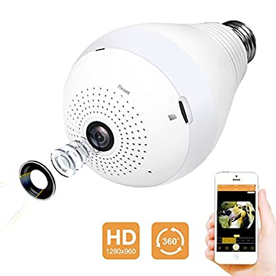 Wireless Wifi Camera by Tooge, 360 Degree Wide View Panoramic Fisheye Camera 960P HD Indoor Home Monitor with LED Bulb Two-way Audio Motion Detection Easy Setup( White )