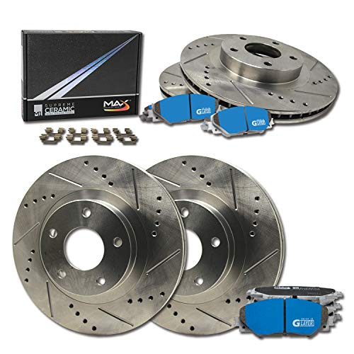 Max Brakes Front & Rear Supreme Brake Kit [ Premium Slotted Drilled Rotors + Ceramic Pads ] KM076133 | Fits: 2000 00 Pontiac Bonneville; Non SLE/SSEI/GXP Models ()
