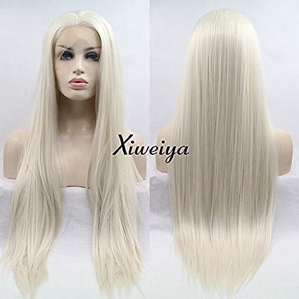 xiweiya largo Silky recto peluca de pelo rubio blanco peluca Lace Front sintético parte media resistente
