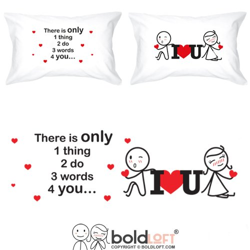 BOLDLOFT 3 Words for You Couples Pillowcases for Him and Her|I Love You Gifts|Love Gifts for Girlfriend Boyfriend|Cute Girlfriend Gifts for Christmas Anniversary Valentine's Day Birthday Engagement Christmas Wishes Quotes For Best Friends