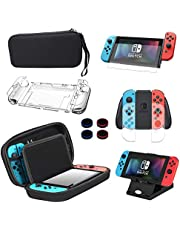 13 in 1 Case & Accessories Kit for Nintendo Switch, Comes with BOENFU Carrying Case for Nintendo Switch, Screen Protector, Joy-Con Controller Case, Thumb Grip Caps, Adjustable Stand, Portable Strap