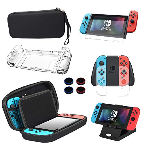 13 in 1 Case & Accessories Kit for Nintendo Switch Comes with BOENFU Switch Game Case, Screen Protector, Jon-Con Grips Caps, Controller Case, Sheets, Joy-Con Cases, Play Stand, Portable Strap from BOENFU