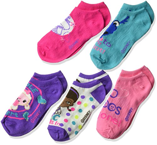 Doc McStuffins Girls' 5 Pack No Show, Pink/Purple Assorted, Sock 6-8.5 Fits Shoe Size -