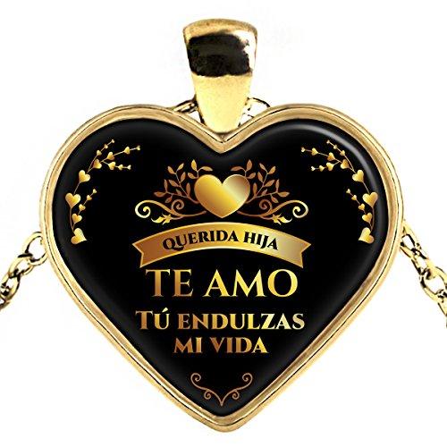 Collar Corazon de Oro Plateado Regalo para mi Hija - Necklace heart gold plated