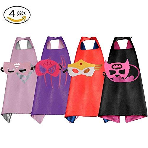 RioRand Comics Cartoon Dress Up Costumes Satin Capes with Felt Masks for girls (Set of 4)