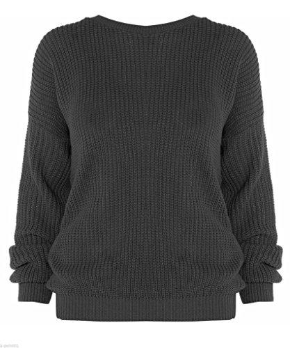 MKL Fashions - Jerséi - para mujer gris oscuro