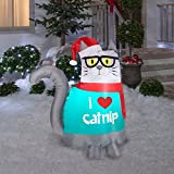 Christmas Nerdy Cat Airblown Lawn Decor