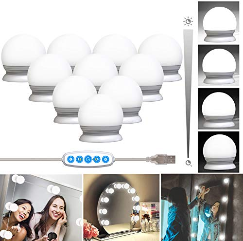 10 Bulbs Vanity Mirror Lights Hollywood Style LED Makeup Light Kit with Dimmable Color and Brightness Lighting Fixture Strip for Vanity Table Bathroom Dressing Room Mirror (White)