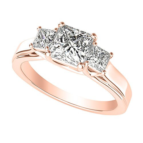 1 Carat 3 Three Stone Princess Diamond Engagement Ring 14K Rose Gold H-I Color SI1-SI2 Clarity