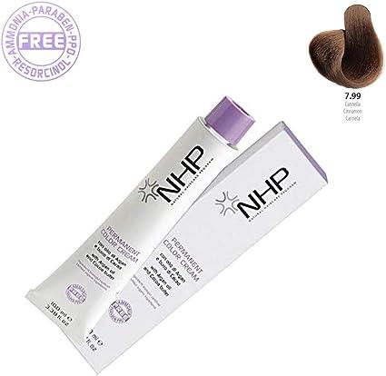 NHP Permanent Color Cream | 7.99 Canela | Con aceite de argán mantequilla de cacao | Ingredientes biológicos certificados 100 ml