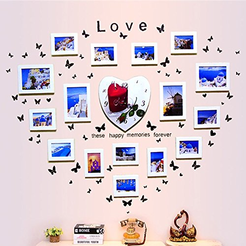 Heart Acrylic Album - LongYu 16 multi-frame photo wall heart-shaped solid wood photo wall photo frame wall combination belt watch studio living room bedroom wedding yarn wall (Color : White)