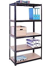 180cm x 90cm x 45cm, zwart 5 tier (175 KG per plank), 875 KG capaciteit garage schuur opslag rekken eenheden, 5 jaar garantie