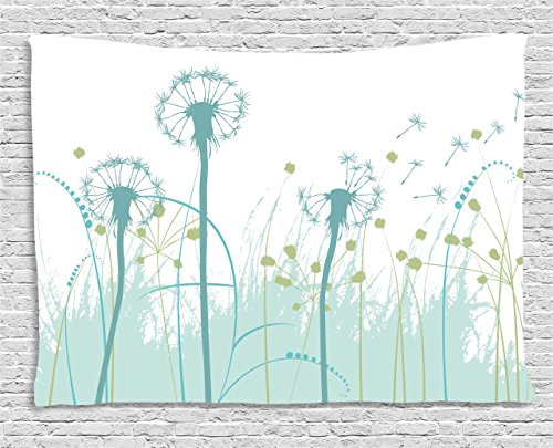Spring Foliage - Ambesonne Spring Tapestry, Silhouette Dandelion Floral Foliage Seasonal Blooms Botany Eco Illustration, Wide Wall Hanging for Bedroom Living Room Dorm, 60