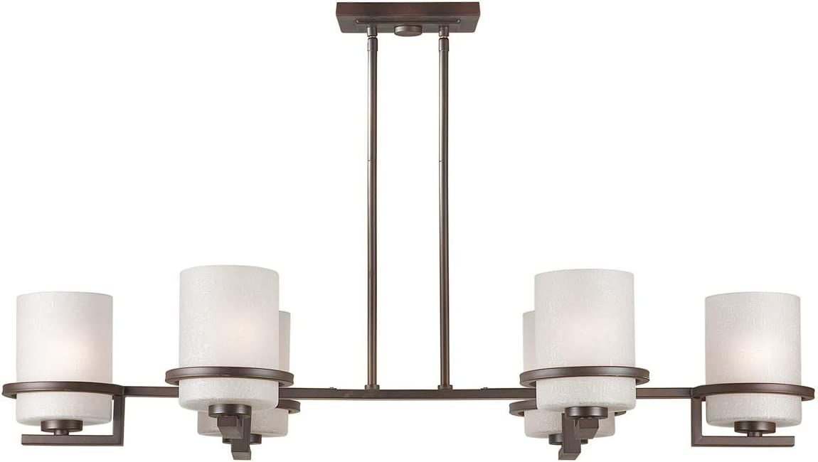 Forte Lighting 2404-06-32 6-Light Transitional Oval Chandelier, Antique Bronze Finish with Umber Linen Glass Shades