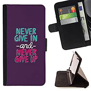 - never give in up mint green purple - - Prima caja de la PU billetera de cuero con ranuras para tarjetas, efectivo desmontable correa para l Funny HouseFOR Samsung Galaxy A3