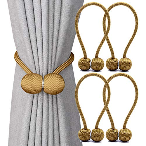 DEZENE Magnetic Curtain Tiebacks,The Most Convenient Drape Tie Backs,Decorative Rope Holdback Holder for Big,Wide or Thick Window Drapries,4 Pack(16 Inch Long),Bronze/Golden