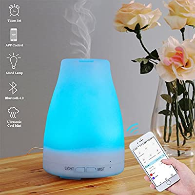 E-Diffuser Smart Aroma Essential Oil Diffuser- Bluetooth App Control Ultrasonic Cool Mist Humidifier with Timer Function and 7 Color LED Lights Changing, Perfect for Home Office Baby Room Yoga SPA