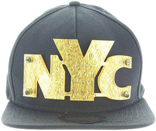 Nyc Black Letters - Essencial Caps 3D Letters Snapback Bling Collection - NYC Plate Hip-Hop Hat Plaque Black Gold