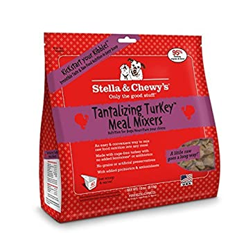 Stella Chewy s Freeze-dried Raw Tantalizing Turkey Meal Mixers Dog Food Topper, 18 oz bag