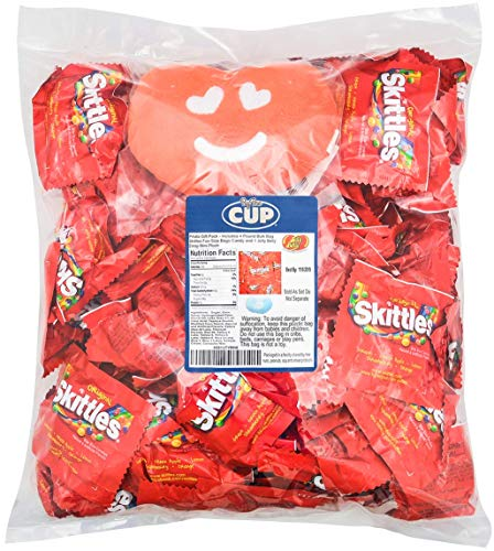 Skittles Bulk Candy Individually Wrapped Fun Size Bags 4 Pound and 1 Jelly Belly Emoji Mini Plush - Flavors Include Orange, Lemon, Green Apple, Grape, Strawberry