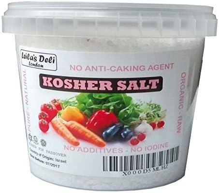 Sal kosher de Leilas Deli (1 x 850 g) – 100 % Natural - Sin yodo ...