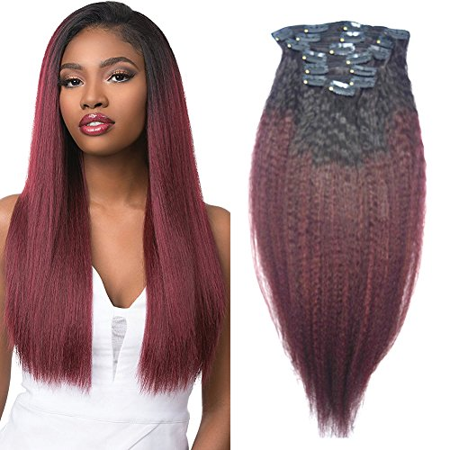 Red Ombre Clip in Human Hair Extensions 8A 100% Brazilian Yaki Kinky Coarse Remy Hair 1B 99J Two Tone Natural Hair Burgundy 120G 10-22 inch No Shedding Full Head (10 inch, Ombre 1B/99J Yaki)