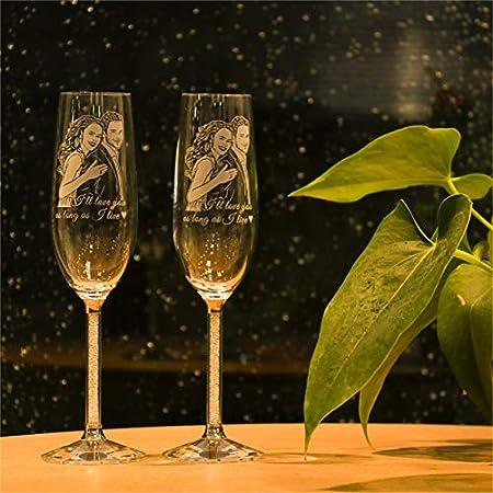 Copas de champán personalizadas Copas de vino con foto personalizada Copas de champán de boda grabadas con láser Aniversario mamá(1 taza)