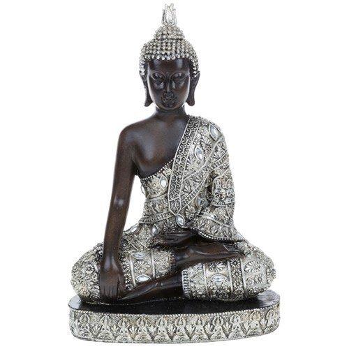 BUDDHA - Thai Meditating Buddha Decorative Ornament - Black / Silver by WATSONS