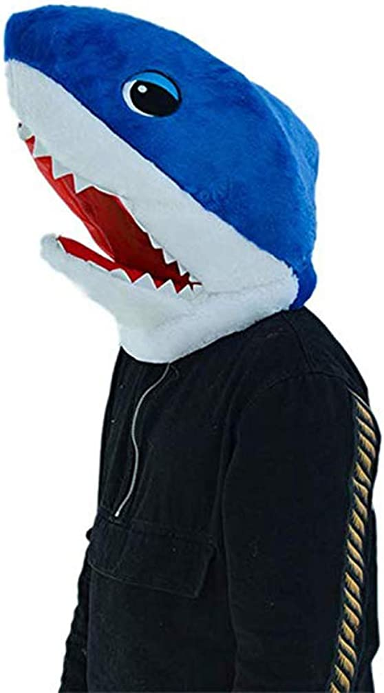 Blue Plush Halloween Shark Head Mask Mascot Costumes