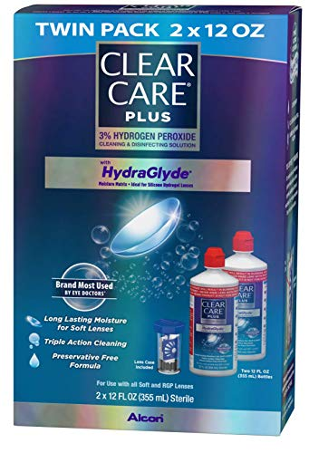 51Cm5vVv3UL - Clear Care Plus Cleaning and Disinfecting Solution with Lens Case, Twin Pack, 12-Ounces Each