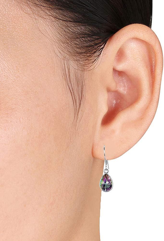 925 Sterling Silver Drop Dangle Earrings Pear Blue Glass Fashion Jewelry Gift
