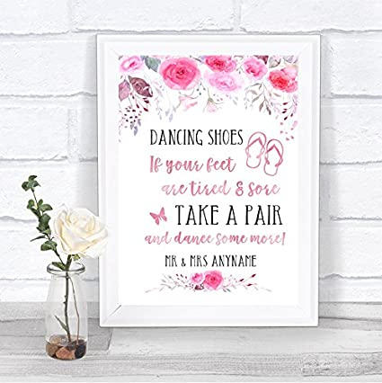 38f58f01a Amazon.com   Pink Watercolour Floral Dancing Shoes Flip Flops Personalized  Wedding Sign   Office Products