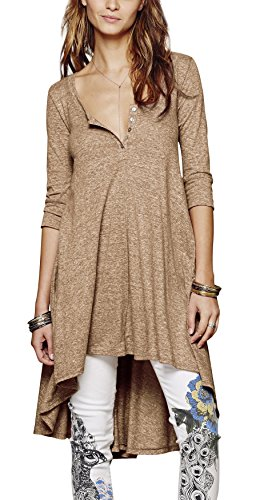 Urban CoCo Women's Half Sleeve High Low Loose Casual T-Shirt Top Tee Dress (X-Large, Khaki) (: Accessories Clothing Khaki Womens)
