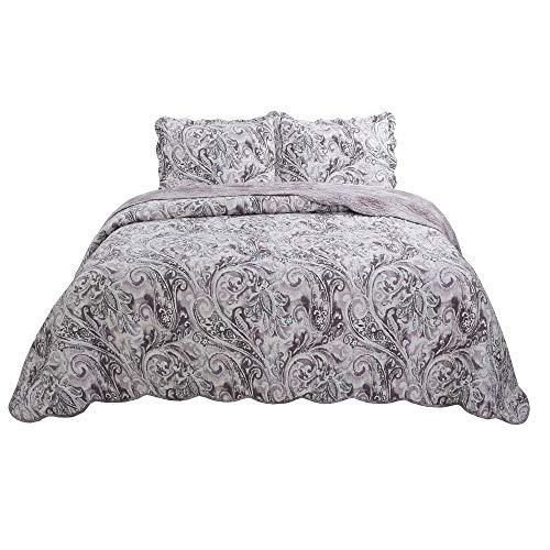 vivinna home textile Bedspread Coverlet Set Brown Paisley Oversized 3-Piece Quilt Set (King, Brown)