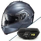 HJC IS-Max II Anthracite Modular Helmet with Hawk X2 Black Bluetooth Headset Bu - Large with X2 Bluetooth