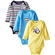 Hudson Baby Baby-Boys Long Sleeve Bodysuits, Penguin, 3-6 Months (Pack of 3)