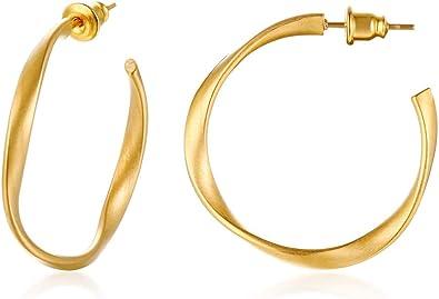 Women/'s Gold Earning Small Hoop Minimalist Earnings Twisted Hoops Gold Filled Earrings Gold Earnings Twisted Open Open Shaped