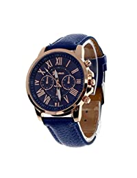 Womens Quartz Watches,COOKI 9298 Unique Analog Fashion Clearance Lady Watches Female watches on Sale Casual Wrist Watches for Women,Round Dial Case Comfortable Faux Leather-H13,Dark Blue