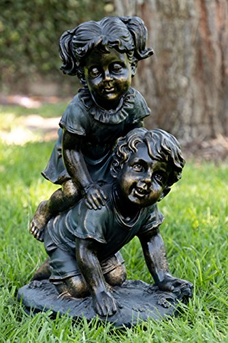 Alpine Girl and Boy Playing Statue, 18 Inch Tall