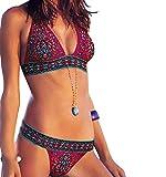 Mistere Women's Printed Push up Bikini Set Halter Racerback Top Tie Bottom,Medium,Red1