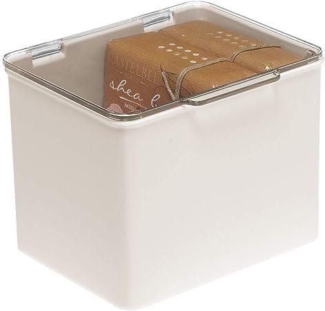 mDesign Cajón de plástico sin BPA – Caja con tapa de diseño apilable, ideal para organizar la