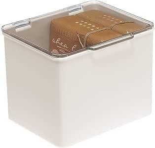 mDesign Cajón de plástico sin BPA – Caja con tapa de diseño ...