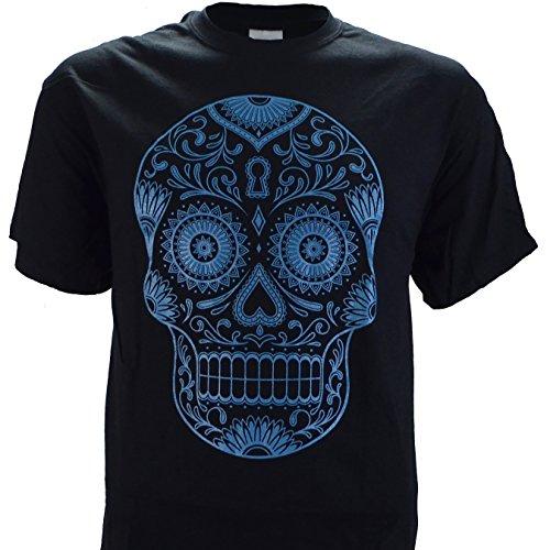 Sugar Skull in Teal on a Black T Shirt - Bad Warehouse Boy