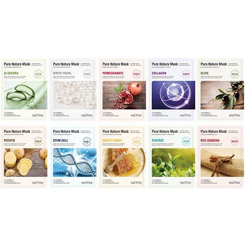 Pure Nature Full Face Facial Mask Sheet 10ea Variety Pack